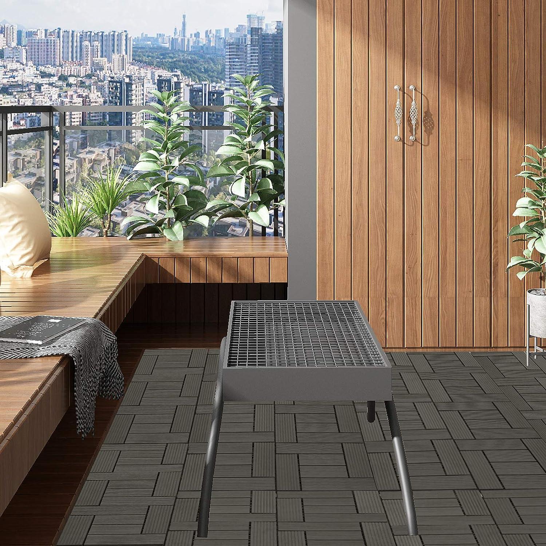Baldosas de Madera para Jardin Terraza Caf/é EUGAD 22x Suelo de Exterior WPC 30x30cm Terrazas del Piso 22 Set 2