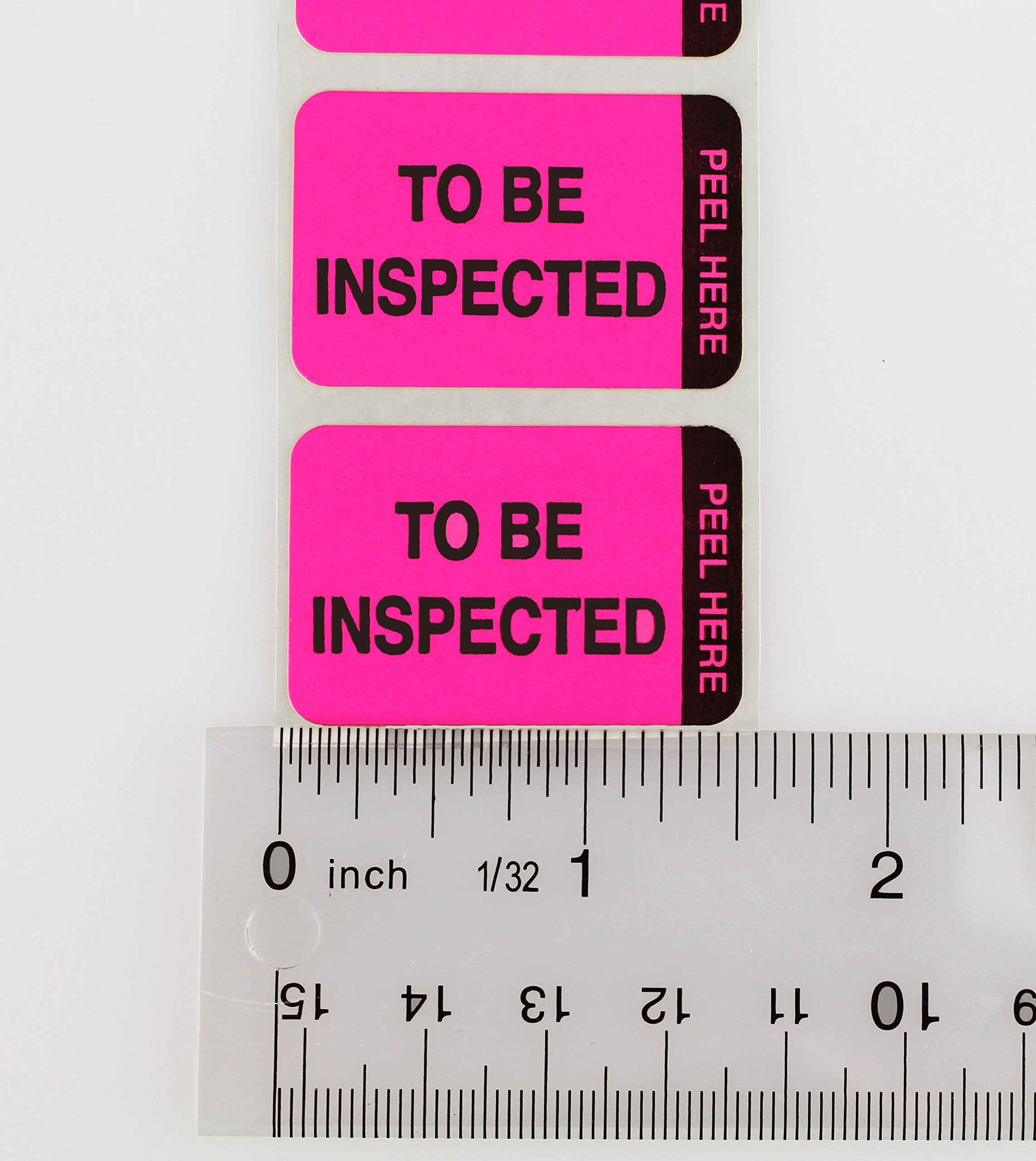 ChromaLabel 1 x 1-1/2 inch Fluorescent Pink/Yellow Double Layer QC Label | 'To Be Inspected/Inspected' Imprint | 250/Dispenser Box by ChromaLabel (Image #7)