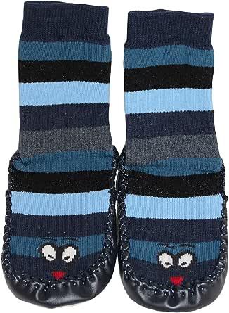 Tobeni 1 Par de Cabanas Zapatos Calcetines de Casa con Suela de Cuero y Rayas para Ninos