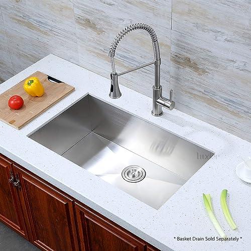Luxier BHS32-18Z 32 Inch x 19 Inch Undermount Single Bowl 18 Gauge Stainless Steel Luxury Handmade Kitchen Sink Zero Radius