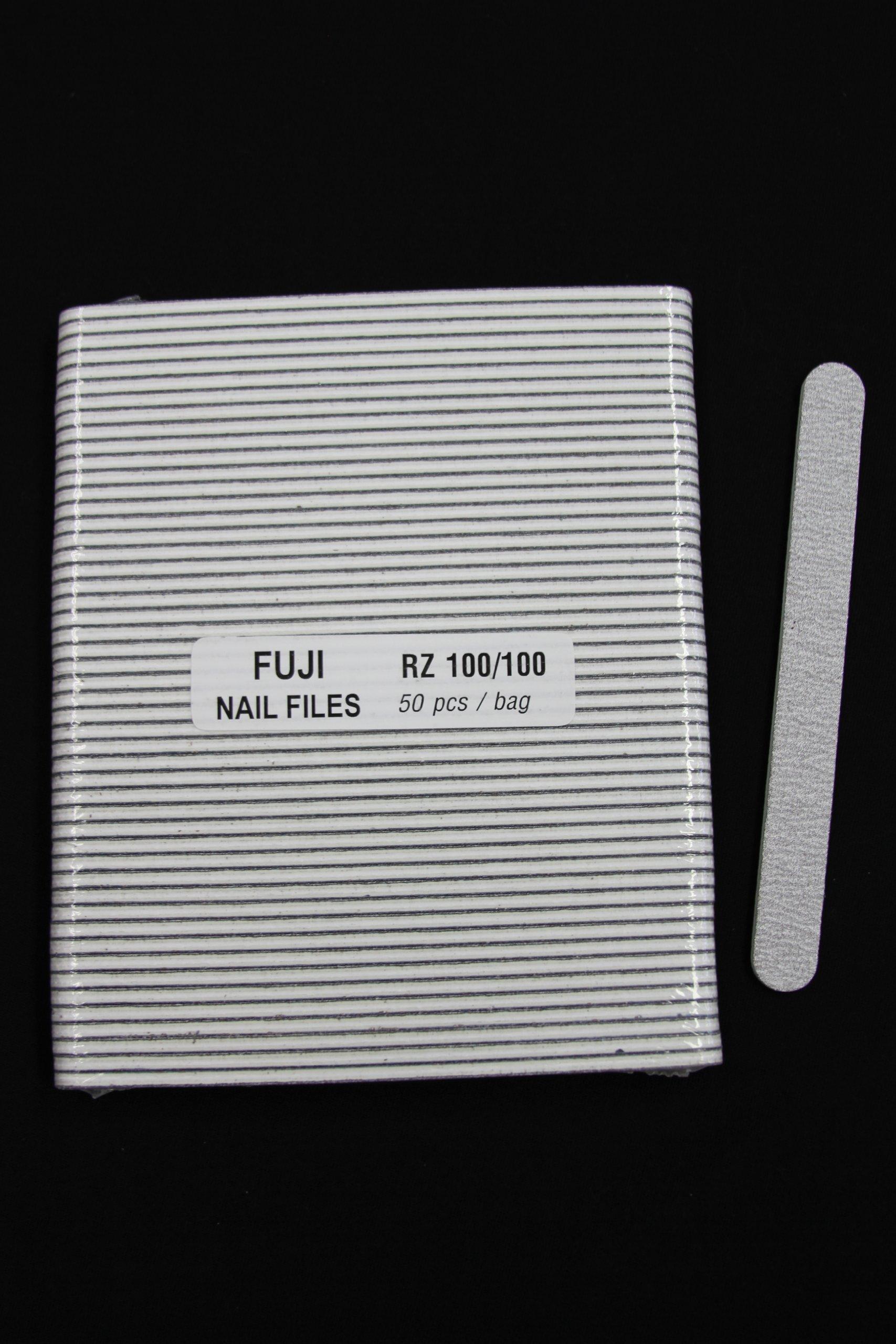 Professional Nail Files Grit 100/100, Coarse Zebra Round (50pcs in a Pack) by Fuji