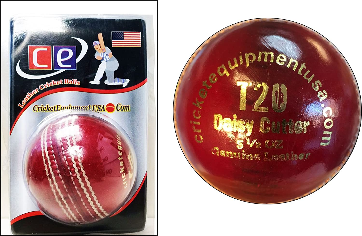Ce T20 Daisy Cutter Leather Cricket Ball 4 Piece Leather Seasoned Ball By Cricket Equipment Usa 2016 Red