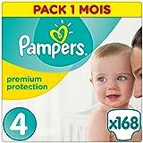 Pampers - Premium Protection - Couches Taille 4 (8-16 kg /Maxi) - Pack Economique 1 Mois de Consommation (x168 couches)