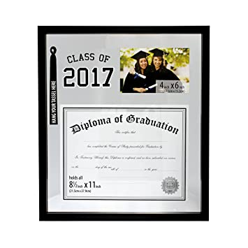 class of 2017 graduation diploma cirtificate mirror matte frame with 4x6 picture display and tassel holder - Diploma Frames With Tassel Holder