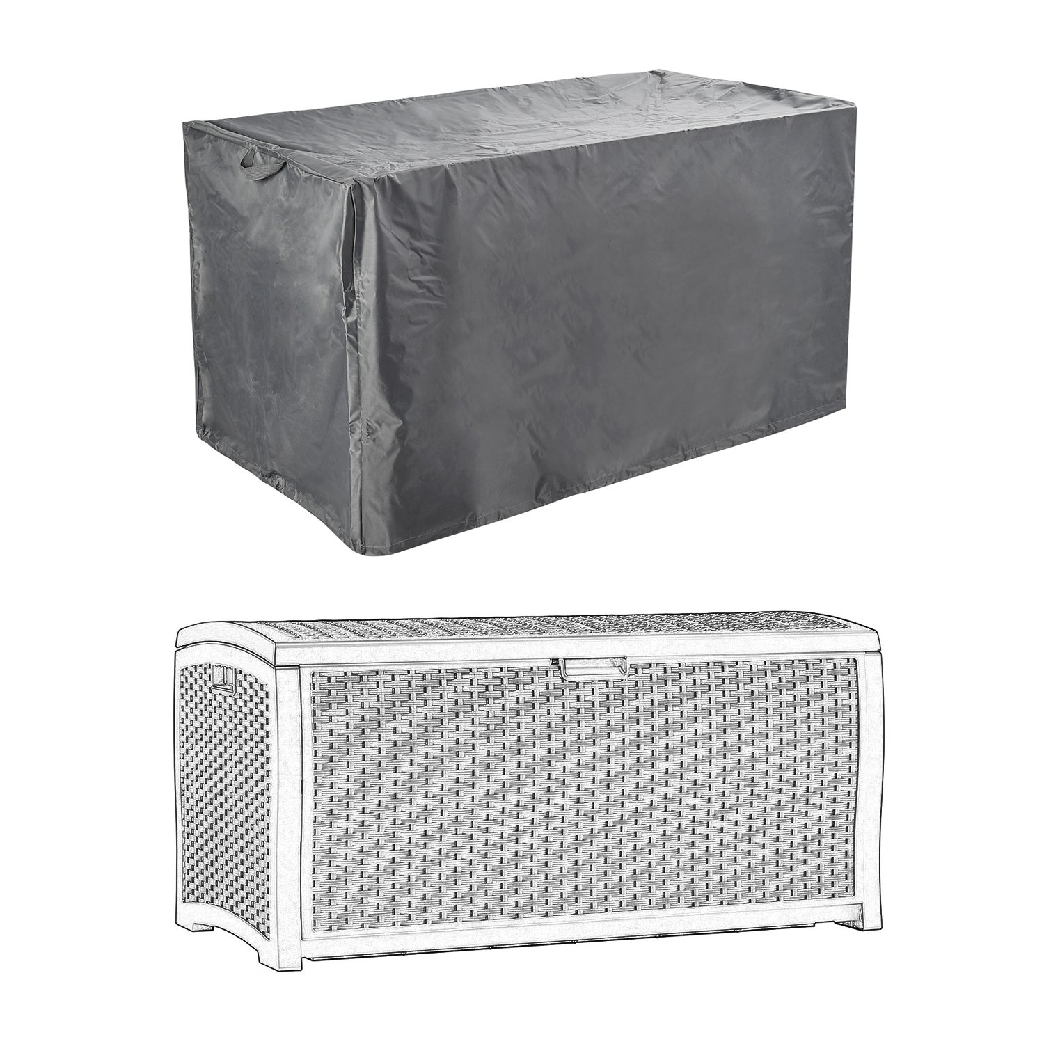 Patio Deck Box Cover to Protect Large Deck Boxes 52L x 26W x 26D CKClub