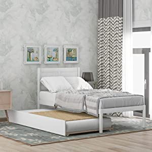 AOOSWEER Twin Platform Bed with Trundle, Pine Wood Bed Frame with Headboard, Convertible to 2 Platform Bed, Twin Bed for Kids Girls Teens Adults (Bright White)