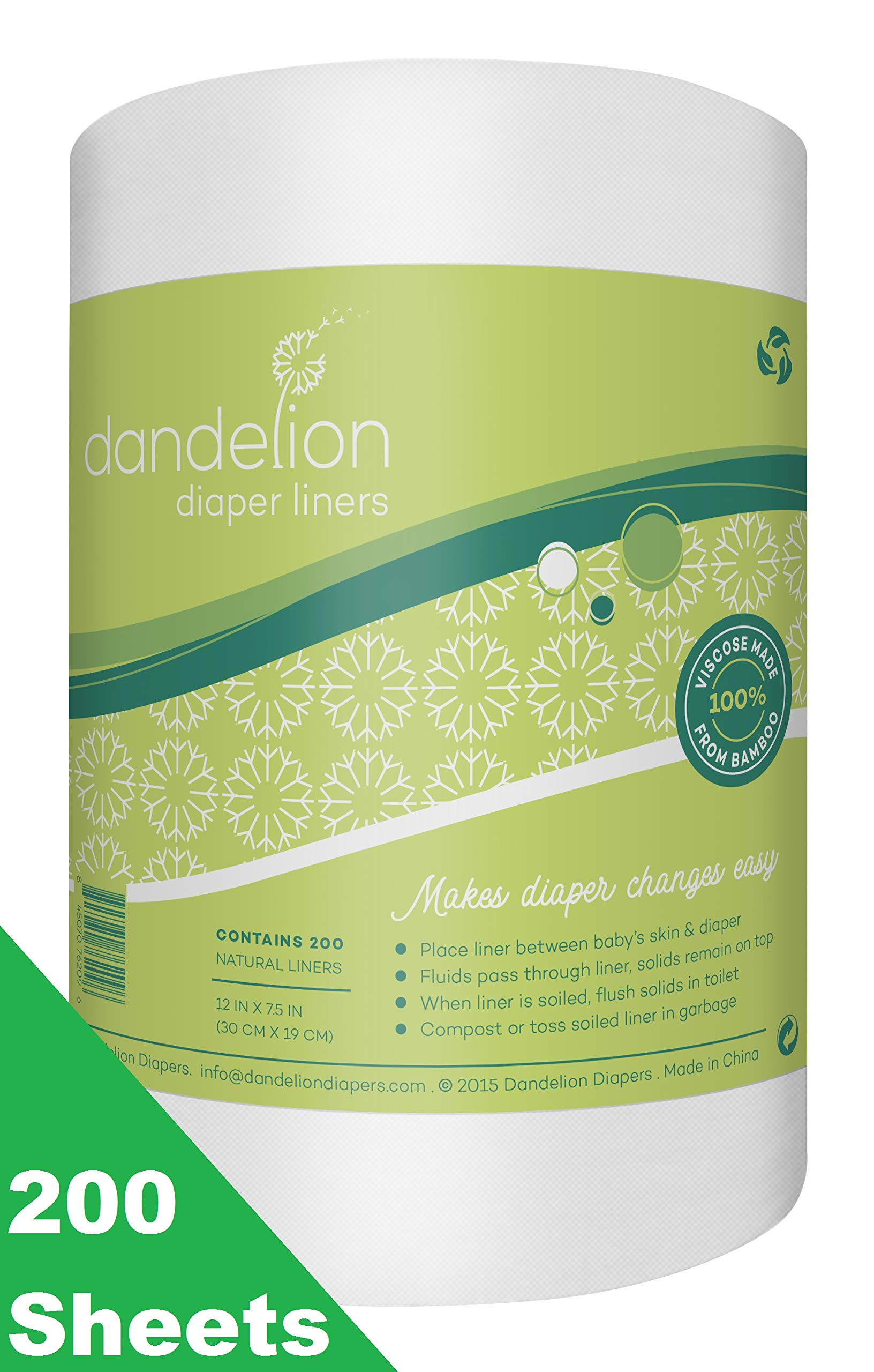 Dandelion Diapers Biodegradable and Flushable Natural Diaper Liners, 100% Viscose Made From Bamboo, 200 Sheets by Dandelion Diapers