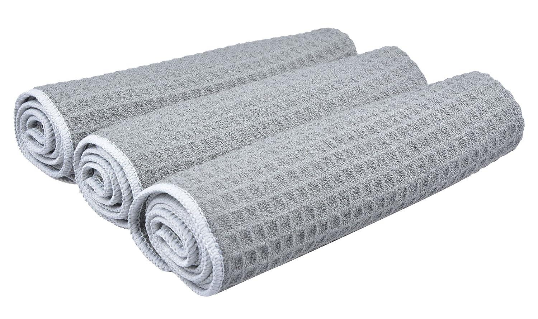 Sinland Paño de microfibra para limpieza con diseño en ondas paños de cocina toallas de cocina trapos de cocina toallas de mano(Gris,40x60cm x 3 unidades): ...
