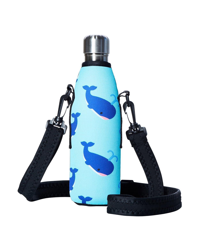 bottleskinn by bBBYOネオプレン断熱Carryカバー – Available in 17oz / 500mlと25oz / 750mlサイズと複数のデザイン。Fits bBBYO、S 'well Mira、その他「コーラ」スタイルスチールBottles B076VWP7DW 17oz/500ml|Blue Whale Blue Whale 17oz/500ml