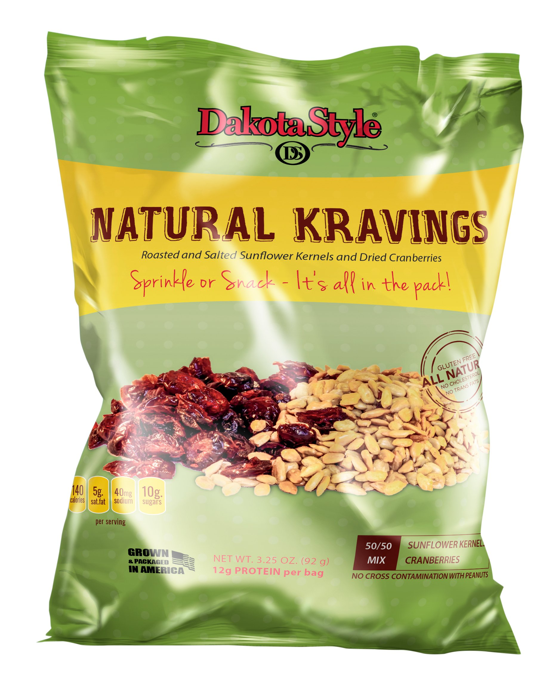 Dakota Style Roasted & Salted Sunflower Natural Kernels combined with Dried Cranberries, 3.25 Ounce (Pack of 12)