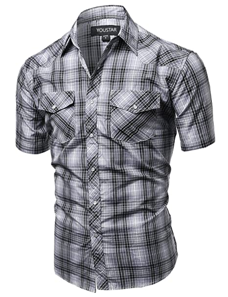92592798 Amazon.com: Youstar Men's Western Casual Button Down Shirt: Clothing