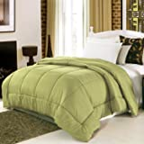 Homdox Comforter (Queen, Green) Luxurious Soft Polyester and Cotton Inner, Hypo-allergic and Lightweight, Protects Against Dust Mites