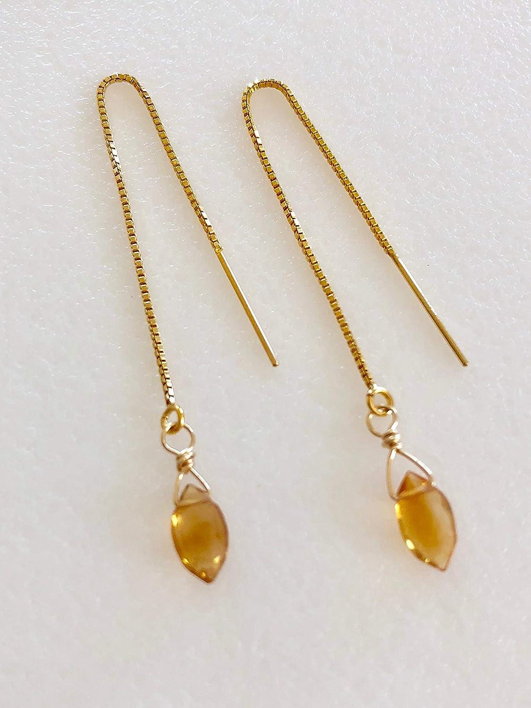 Citrine Threader Earrings, Honey Madeira Brazilian Citrine, Petite Citrne Briolettes, Delicate Earrings, November Birthstone, 14K Gold Fill