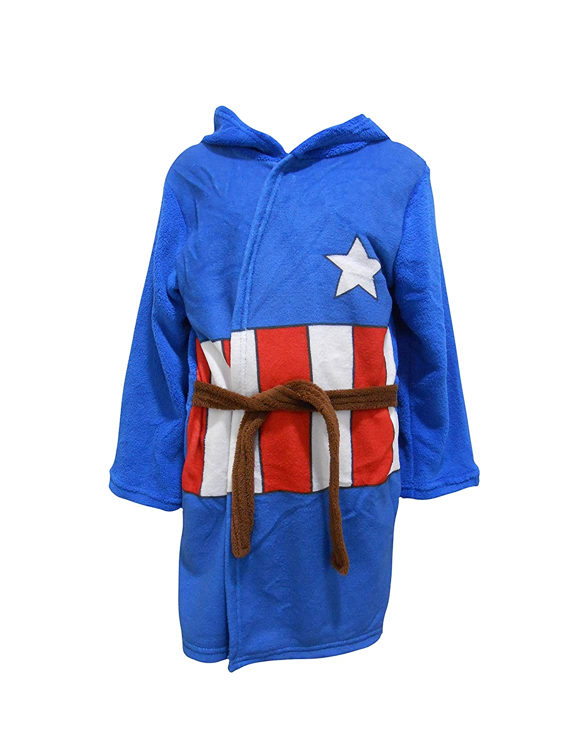 Captain America Kids Hooded Fleece Bathrobe Dressing Gown The Cookie Company