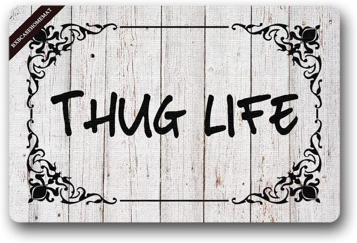 BXBCASEHOMEMAT Thug Life Welcome Mat Indoor Outdoor Doormat 23.6 L X15.7 W inch Non-Slip Machine-washable Home Decor