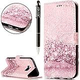SainCat Cover Galaxy S6 Flip Case Leather, Custodia Flip Portafoglio Custodia Libro Pelle Flip Case Antiurto Cover per Samsung Galaxy S6-Rose Gold