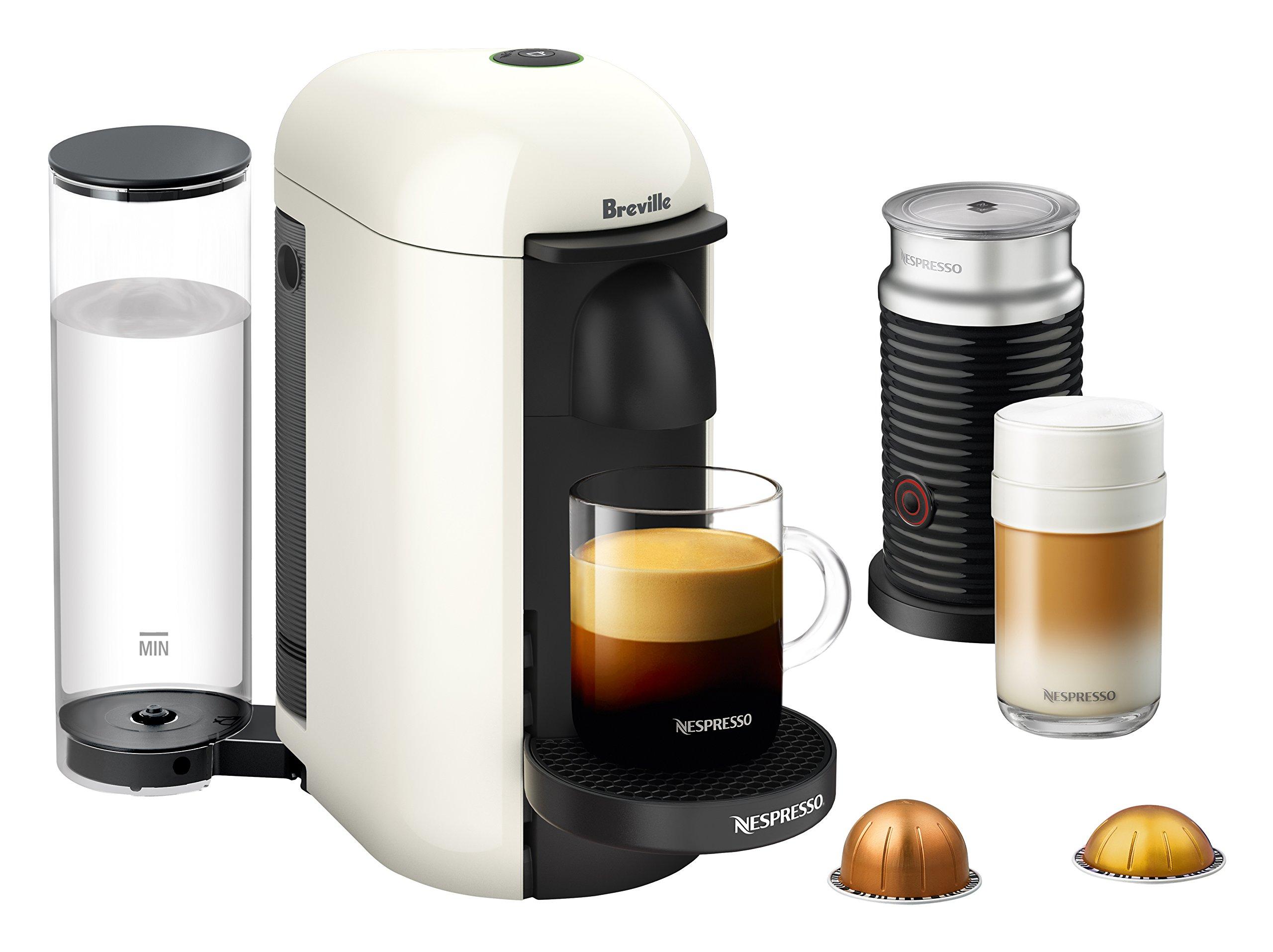 Nespresso VertuoPlus Coffee and Espresso Maker by Breville with Aeroccino, White