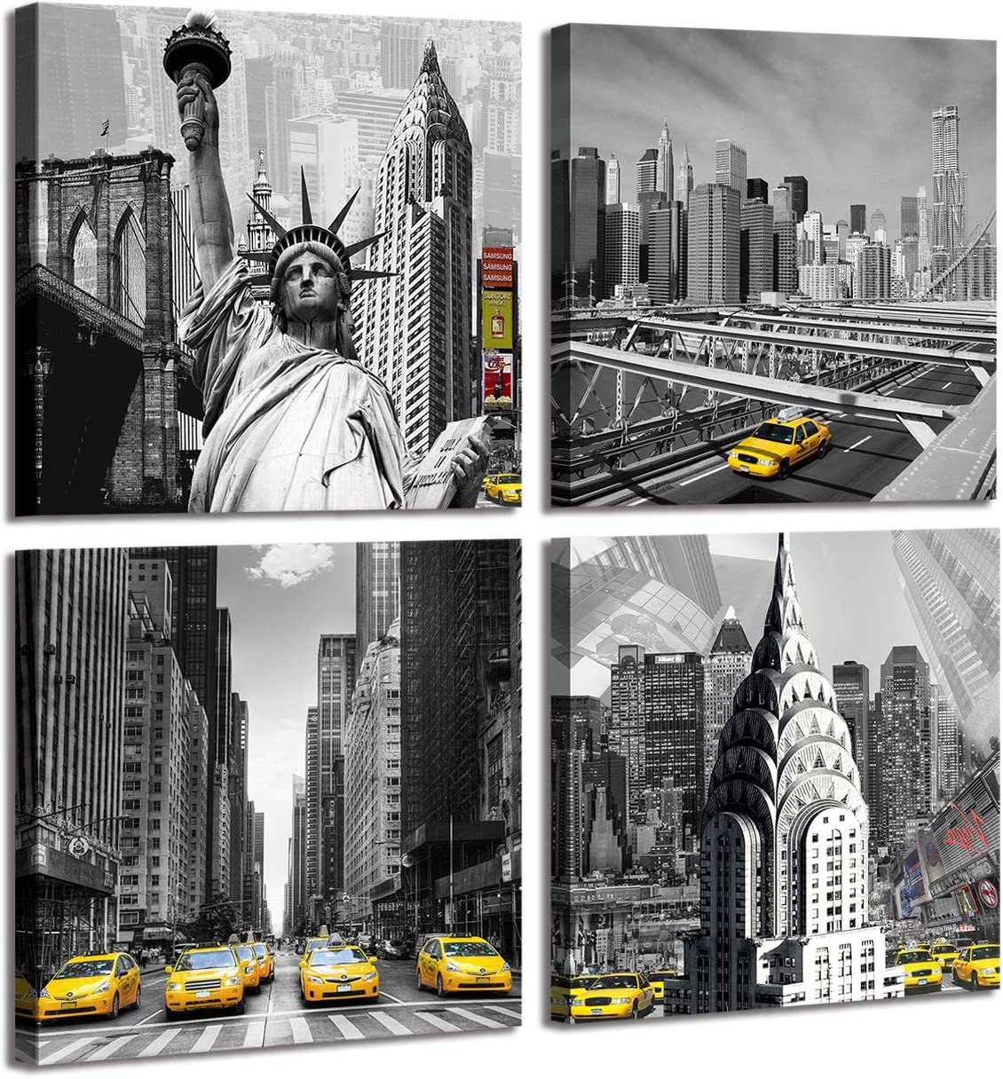 4-Panel Canvas Print Wall Art Set - New York City Statue Of Liberty Historic Buildings Statue in Black and White - Yellow Taxis in Selective Color, 12x12 Inch