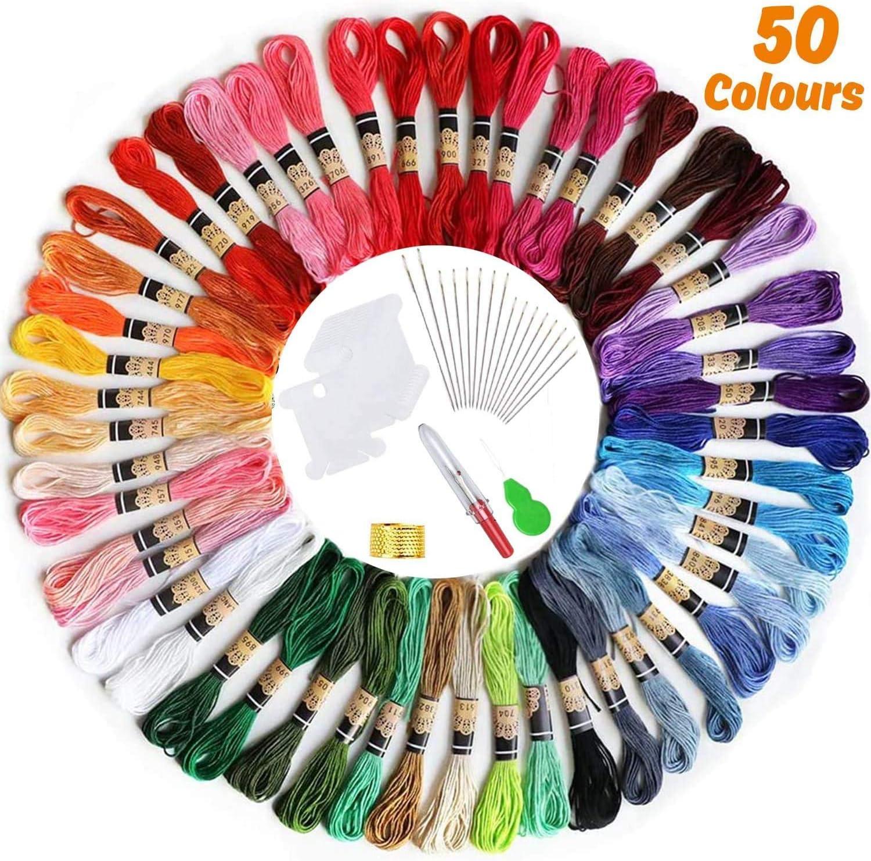 【50 Madejas】Hilos de Bordado, elloLife Bordado Kit con 12 Tablero Blanco de la Bobina para Organizar Hilos Punto Cruz Hacer Pulsera de la Amistad Punto de Manualidades Costura, Colores Arco Iris