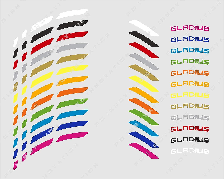 Liserets de Jantes Suzuki Gladius avec des Logos Bande Rouge - Logos Blancs