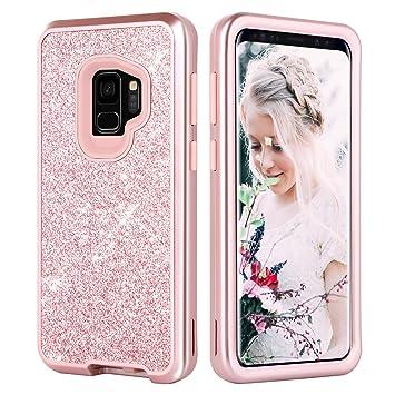 DUEDUE Funda Samsung Galaxy S9, Funda Samsung S9,Purpurina Carcasa Combinada 3 EN 1 Case Brillante Original Resistente Dura PC Bumper TPU Silicona ...