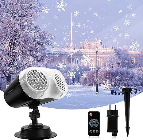 Projektorlampe Schneeflocke Au/ßen mit Fernbedienung und Timer Innen und Au/ßen Dekoration LED Schneeflocke Projektor