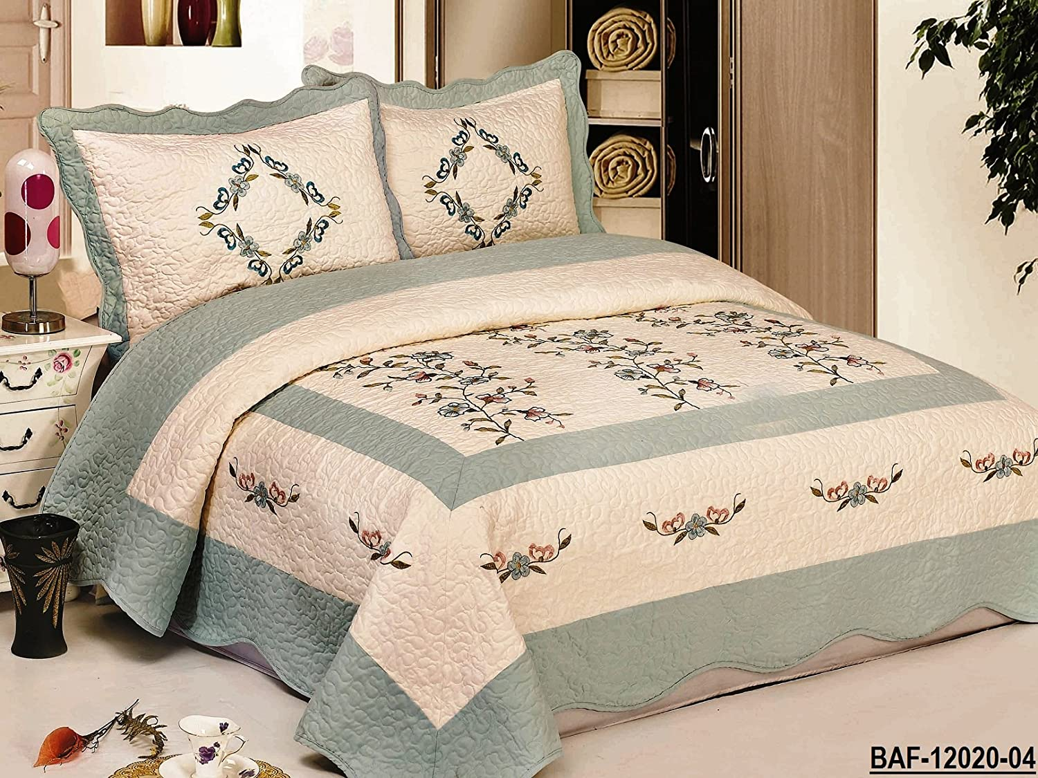 Brazilian embroidery bedspread designs - Amazon Com 3pcs High Quality Fully Quilted Embroidery Quilts Bedspread Bed Coverlets Cover Set Queen King Beige Aquablue Home Kitchen