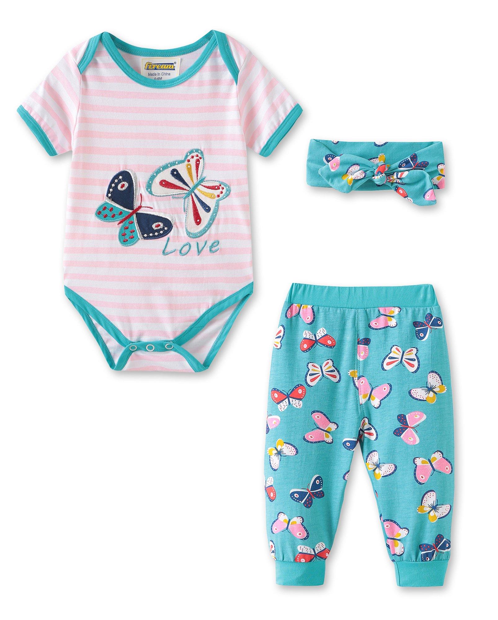 Fiream Baby Girls Clothes Infant Romper Bodysuit + Headband 3pcs Fashion Outfits Set(BA0305,12-18M)