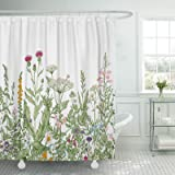 TOMPOP Shower Curtain Vintage Floral Border Herbs and Wild Flowers Botanical Engraving Style Colorful Field Vegetation Waterp