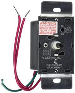 KB Electronics Model KBWC-15K (UL) Variable Speed Fan Control, Wall Mount, Rated 5.0 Amps @ 120 VAC for use with Shaded Pole and PSC Motors