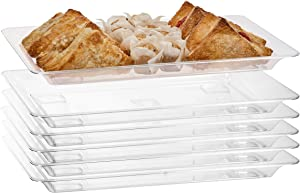 Exquisite - 6 Pack Crystal Clear Premium Quality 18.25 Inches x 11.25 inches Rectangle Plastic Disposable Serving Trays For Parties - Heavy Duty Serving Platter And Serving Trays For Eating