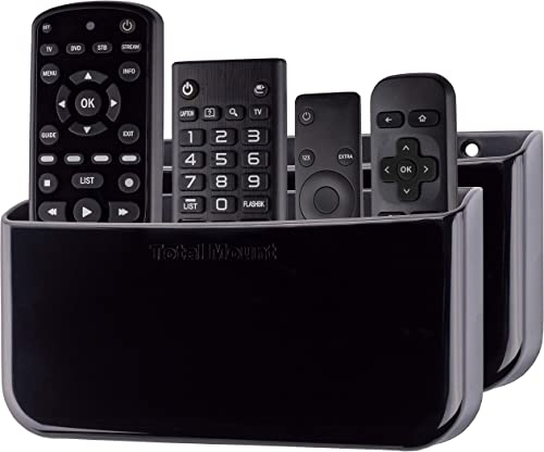 TotalMount Hole-Free Remote Holders – Eliminate Need to Drill Holes in Your Wall for 3 or 4 Remotes – Black – Quantity 2