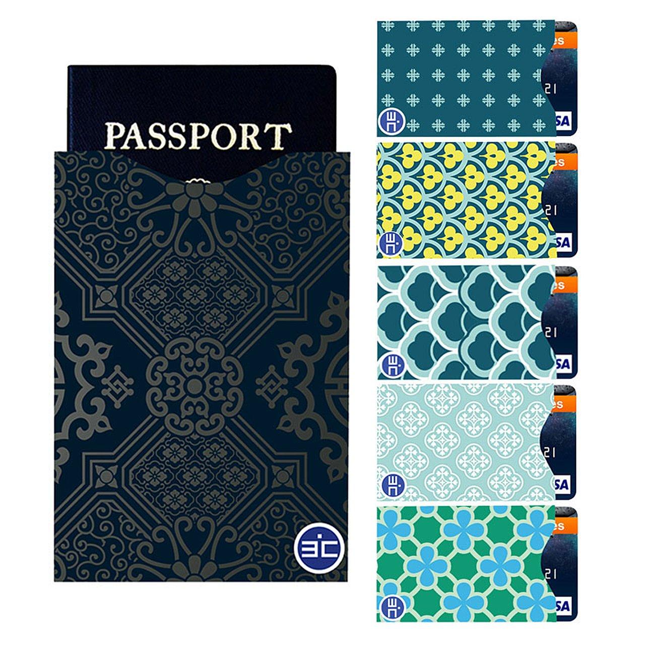I3C RFID Blocking Kreditkartenhülle Reisepasshülle Datenschutzhülle RFID-Blocker Schutzhülle Set (5 Stück Kreditkartenhülle mit 1 Stück Reisepasshülle)