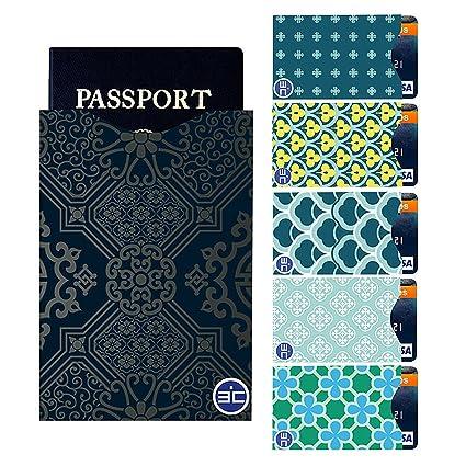 I3C 5 Fundas para Tarjetas de Crédito y 1 Funda para Pasaporte RFID Mini Antirrobo Funda Bloqueo Protector para Tarjetas de Crédito Pasaporte Viaje