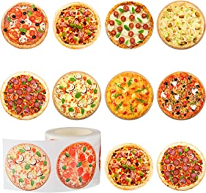 Outus 400 Pieces Pizza Roll Stickers Round Pizza Stickers Pizza Scratch Stickers Self-Adhesive Round Label for Kid Learning Party Home Wall Decoration, 9 Styles, 1.5 Inches
