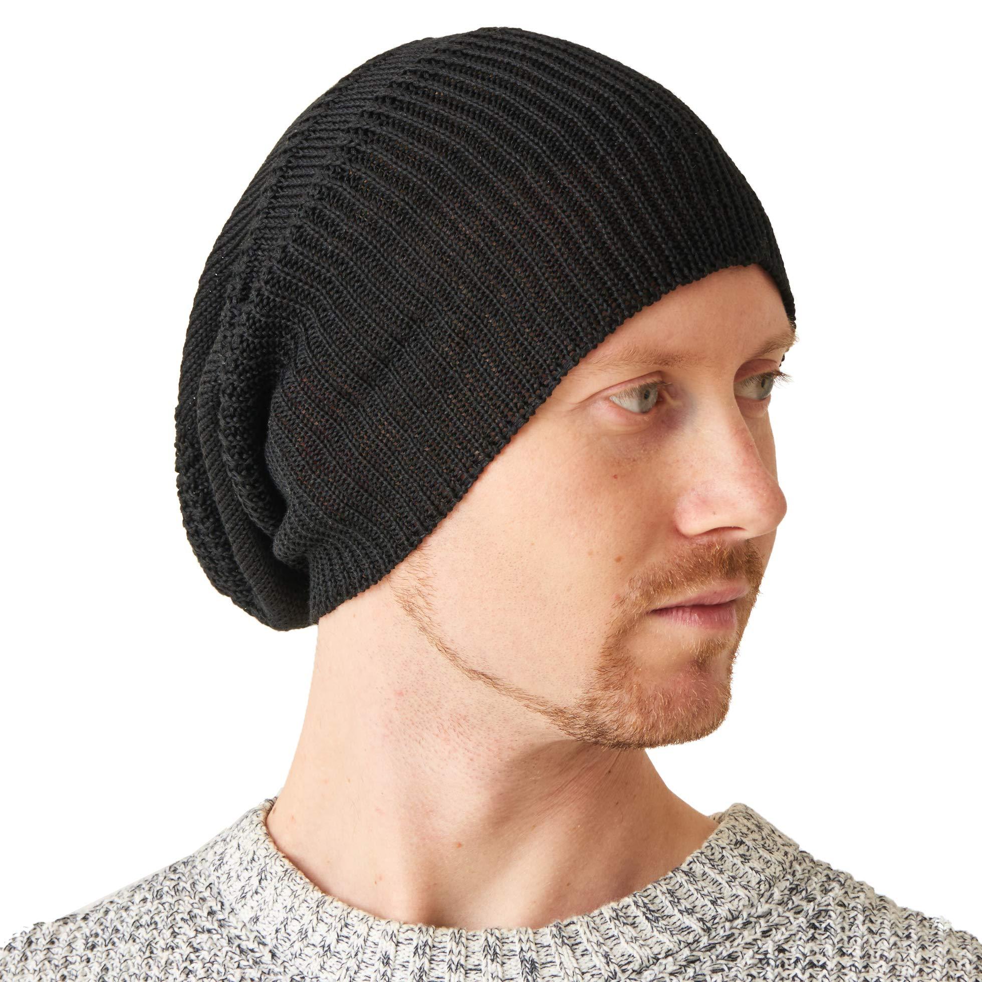 CHARM Silk Slouchy Beanie Womens - Mens Slouch Hat for Summer Chemo Cap 100% Silk Knit Black