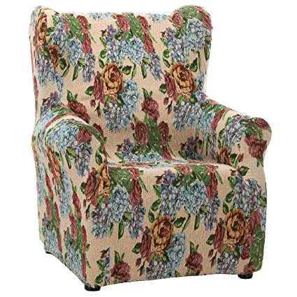 7457a285563 Jarrous Funda de Sillón Orejero Elástica Modelo Venezia, Color Diseño  Flores, Medida 80cm de