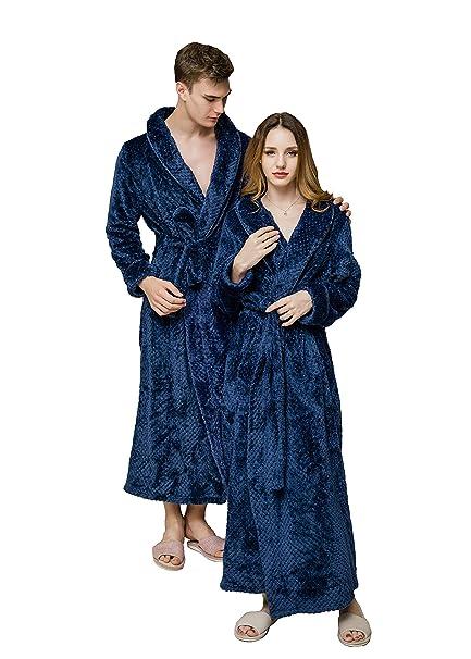 Fortunings JDS Batas Largo Camisón Loungewear Espesar Franela Bata de baño Unisexo Acoplar Bata de casa