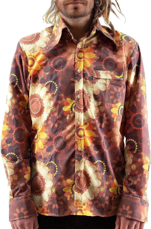 COMYCOM - Camisa de los años 70, diseño de Flores, Multicolor: Amazon.es: Ropa y accesorios