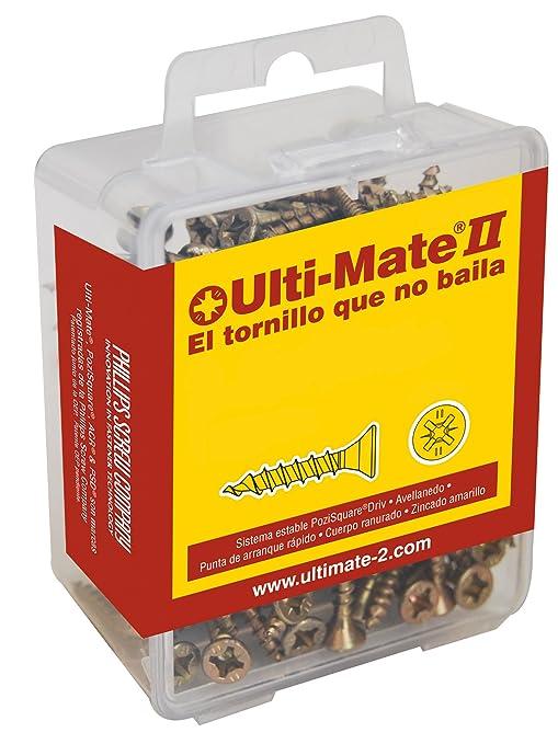 Ulti-Mate II S35030L Caja Grande con Tornillos de Alto Rendimiento para Madera Acabado BICROMATADO