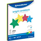 "Printworks Bright Cardstock, 65 lb, 4 Assorted Bright Colors, FSC Certified, Perfect for School and Craft Projects, 50 Sheets, 8.5"" x 11"" (00682)"