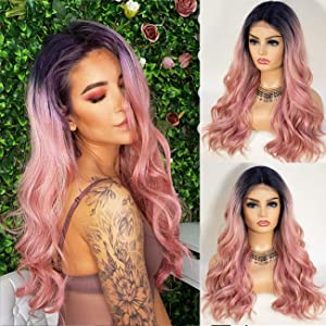 K'ryssma Pink Lace Front Wig Ombre with Roots T Part Medium Length Wavy Synthetic Wigs for Women Heat Resistant 2 Tones Ombre Pink Wig