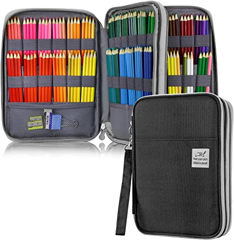 Purple Gel Pens /& Markers for Student /& Artist Large Capacity Pencil Holder Pen Organizer Bag with Zipper for Prismacolor Watercolor Coloring Pencils YOUSHARES 96 Slots Colored Pencil Case