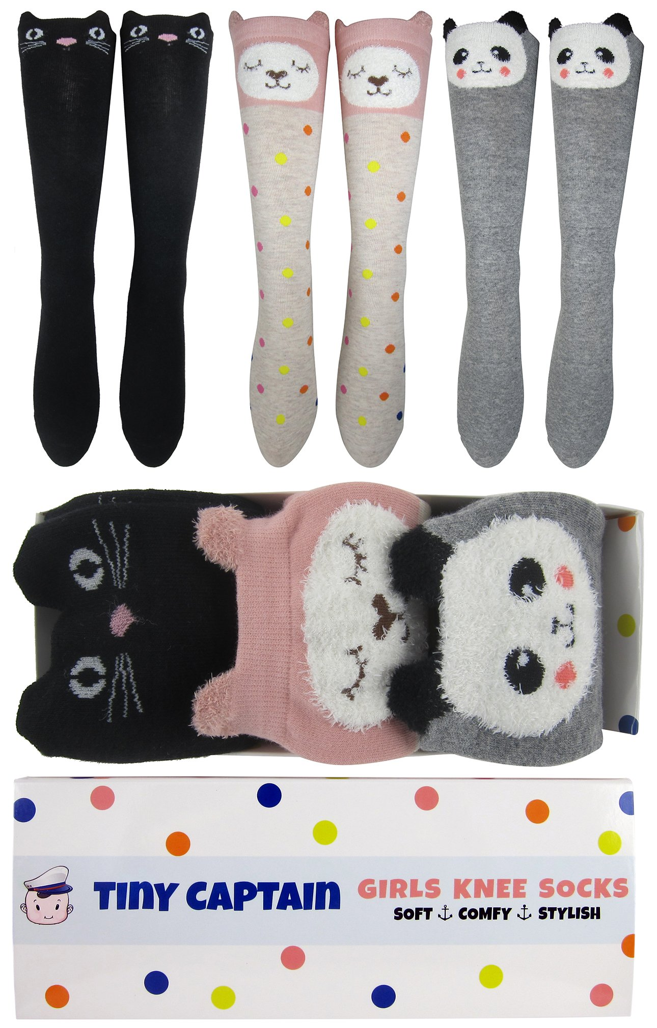 Tiny Captain Girls Knee High Long Socks Gift Over Calf Cartoon Animal Sock For Girl Ages 4-10 Yr Old One Size (Pink, Grey, Black, Medium)