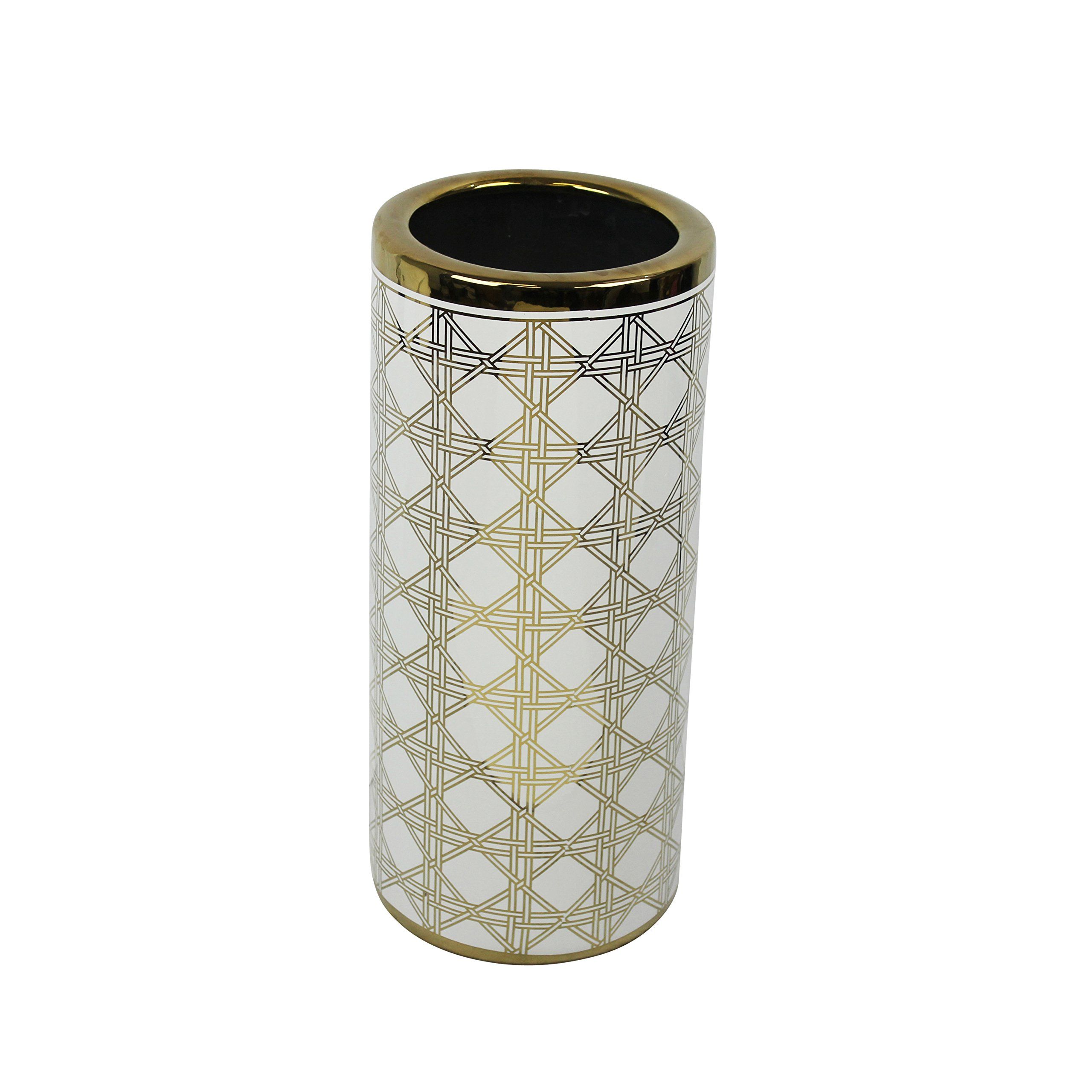 Sagebrook Home Ceramic Umbrella Stand, 7.75x7.75x18, White/Gold
