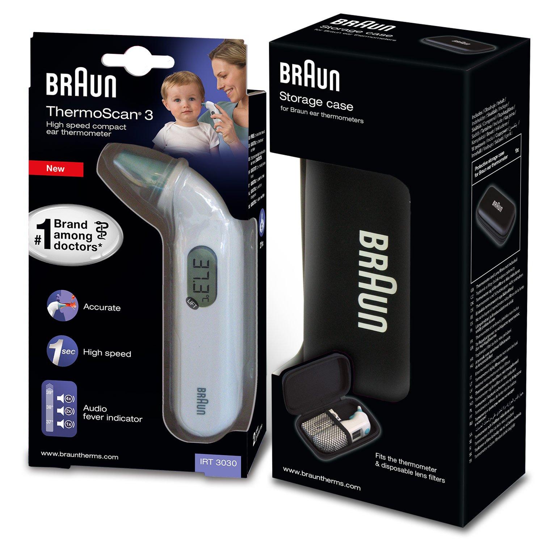 Braun Thermoscan 3 - Termómetro digital auricular + caja de protección: Amazon.es: Salud y cuidado personal