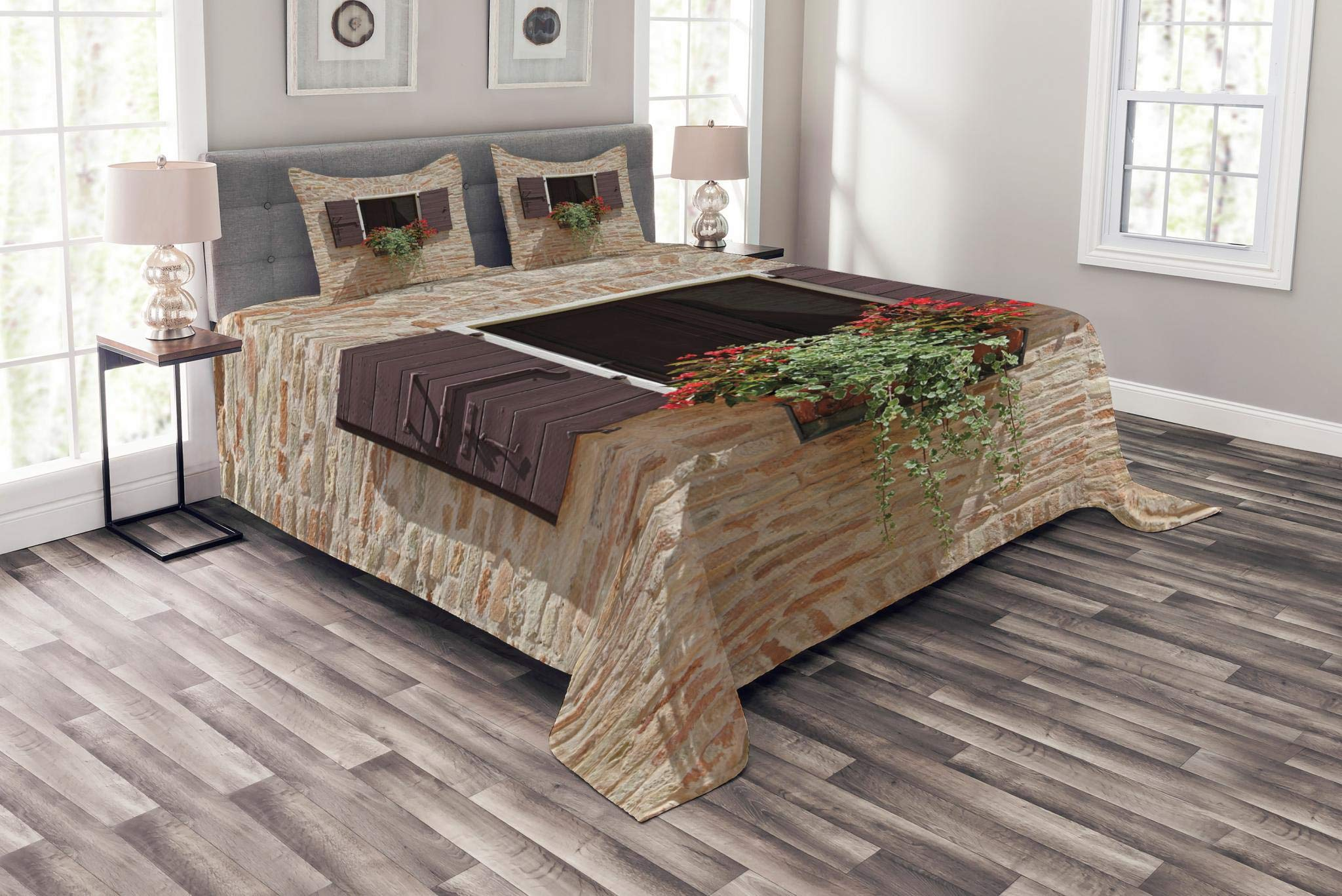 Lunarable Tuscan Bedspread Set Queen Size, Antique Looking Window on an Ancient Stone Wall With Flowers Pienza Tuscany Picture, Decorative Quilted 3 Piece Coverlet Set with 2 Pillow Shams, Brown Ivory