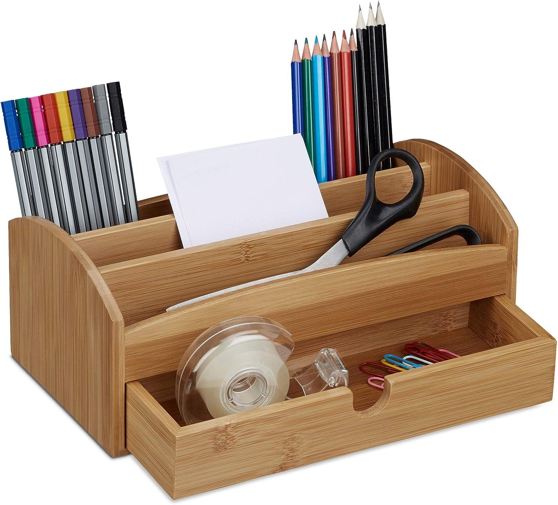 wei/ß 1 St/ück Relaxdays Schreibtisch Organizer 2 Schubf/ächer HxBxT: 14 x 25 x 20 cm Bambus /& MDF Aufbewahrungsbox B/üro