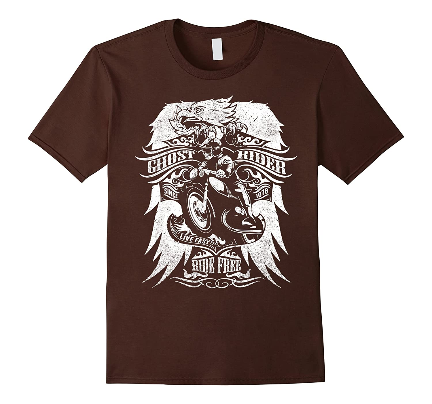 Ghost Vintage Rider Ride Free Motorcycle Tshirt Men Women-mt