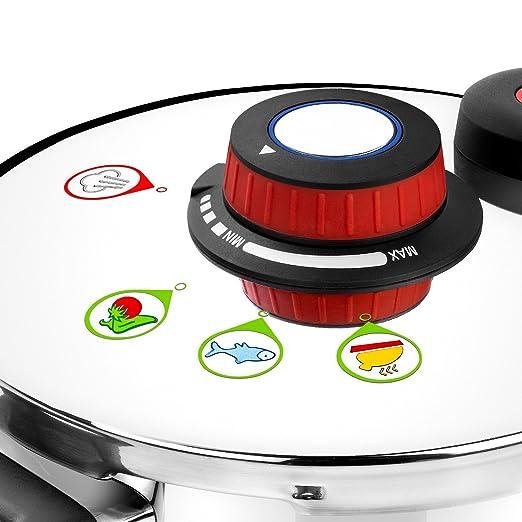 Monix Selecta Duo Set ollas a presión rápidas 4 y 6 litros con Sistema de selección de Alimentos y Cierre automático, Acero INOX 18/10, Plata, 2 ...